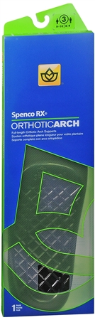 Spenco RX Full Length Orthotic Arch Supports Size 3 1 Pair [038472443230]