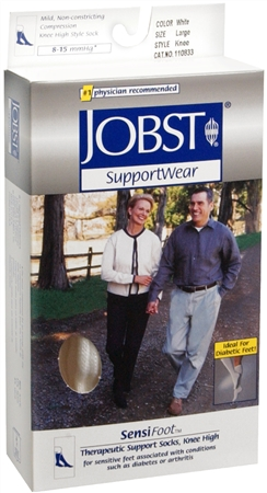 JOBST SupportWear SensiFoot Knee High Socks 8-15 mmHg White Large 1 Pair [035664108335]