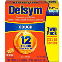 Delsym Cough Suppressant, Twin Pack, Orange Flavored 5 oz ea, 2 ea [363824270531]