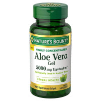 Nature's Bounty Aloe Vera Gel Herbal Health Supplement 5000mg, 100 ea [074312785672]