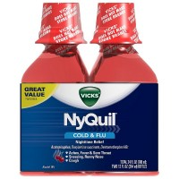 Vicks NyQuil Cold & Flu Nighttime Relief Liquid, Cherry Flavor, Twin Pack 12 oz, 2 ea [323900014305]