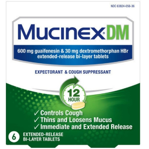 Mucinex Dm 12 Hour Expectorant And Cough Suppressant Tablets 6 Ct