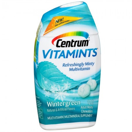 Centrum VitaMints Chewable Multivitamin/Multimineral Supplement, Wintergreen 120 ea [300054455703]
