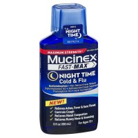 Mucinex Fast-Max Night Time Cold & Flu Liquid, Maximum Strength 6 oz [363824500669]