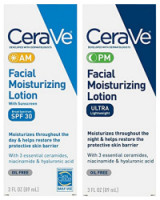 CeraVe Day & Night Face Lotion Skin Care Set | Contains CeraVe AM Face Moisturizer with SPF 30 and CeraVe PM Face Moisturizer | Fragrance Free [191897429743]
