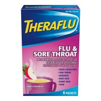 Theraflu Flu & Sore Throat Powder, Apple Cinnamon Flavor 6 ea [300677916063]