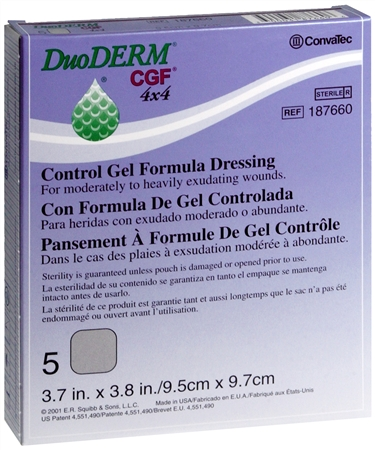 ConvaTec DuoDERM Control Gel Formula Dressings 4 X 4 Inches 187660 5 Each [768455106974]