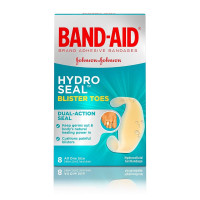 JOHNSON'S Band-Aid Brand Hydro Seal Adhesive Bandages For Toe Blisters, Waterproof Blister Pads, 8 ea [381371174201]