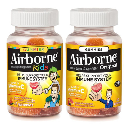 Airborne Immune Support Gummies, Assorted Fruit, Kids 42 Ct & Adult 42 Ct 1 ea [191567345984]