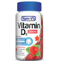 Yum V's Complete Vitamin D 2000IU for Adults Jellies, Strawberry 60 ea [899105001780]