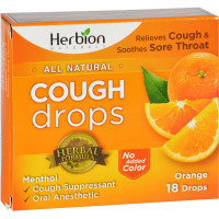 Herbion All Natural Cough Drops, Orange Flavored 18 ea [040232174957]