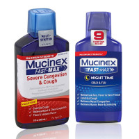Mucinex  Fast-Max Adult Nighttime Cold and Flu Liquid, 6 Oz & Fast-Max Adult Severe Congestion and Cough Liquid  9 Oz, 1 ea [191567753017]