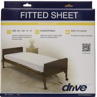 "Drive Medical 15030HBL Hospital Bed Fitted Sheets, White, 36"" x 80"" x 5""-6"" 1 ea [822383520872]"
