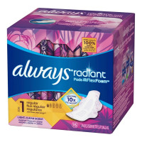Always Radiant Infinity Pads With Wings Regular Light Clean Scent, 15 ea [037000953340]