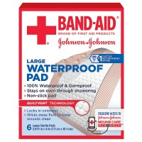 BAND-AID First Aid Sterile Waterproof Pads, Large 6 ea [381371161447]