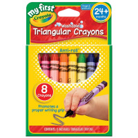 Crayola My First Washable Triangular Crayons, Assorted Colors 8 ea [071662213084]