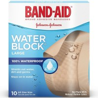 BAND-AID Adhesive Bandages, Water Block Large 10 Each [381370056584]