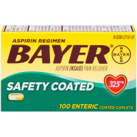 Bayer Aspirin Pain Reliever Safety Coated Enteric Caplets, 325 mg, 100 ea [312843555655]