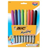 Bic Marking Permanent Fine Point Marker, Assorted Colors 8 ea [070330326163]