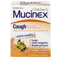 Mucinex Children's Chest Congestion Expectorant and Cough Suppressant Mini-Melts, Orange Cream, 12 Count [363824256122]