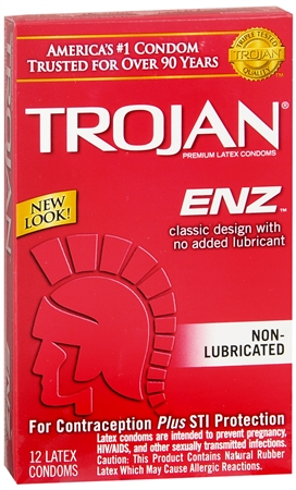 TROJAN Enz Non-Lubricated Premium Latex Condoms 12 Each [022600907527]