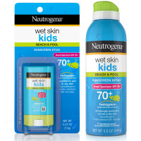 Neutrogena Wet Skin Kids Stick Sunscreen Broad Spectrum SPF 70 0.47 oz & Neutrogena Wet Skin Kids Sunscreen Spray Broad Spectrum SPF 70+ 5 oz 1 ea [191897971266]