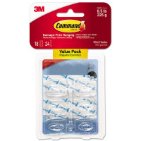 Command Clear Hooks & Strips, Plastic, Mini, 18 Hooks & 24 Strips/pack 1 ea [051141346953]