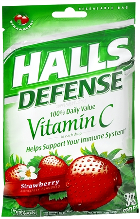 Halls Defense Vitamin C Drops Strawberry 30 Each [312546623538]