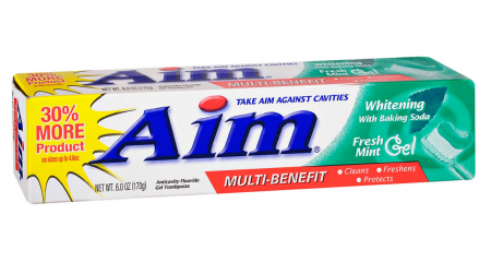 Aim Toothpaste Gel Whitening Mint 6 oz [033200297802]