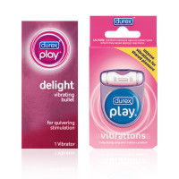 Durex Play Pleasure Pack with Delight Vibrating Bullet Personal Massager (1cnt) and Vibrations Ring (1cnt), Batteries Included 1 ea [191897381263]