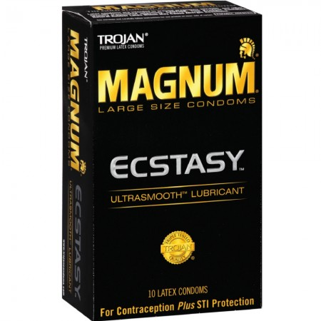TROJAN MAGNUM Ecstasy Condoms Ultrasmooth Lubricant Large Size 10 Each [022600643135]
