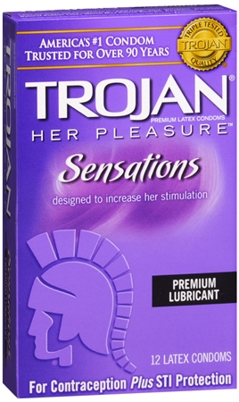 TROJAN Her Pleasure Sensations Lubricated Latex Condoms 12 Each [022600973522]