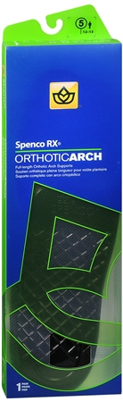 Spenco RX Full Length Orthotic Arch Supports Size 5 1 Pair [038472443254]
