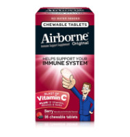 Airborne Berry Chewable Tablets, 1000 mg of Vitamin C - Immune Support Supplement 96 ea [647865963400]
