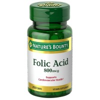 Nature's Bounty Folic Acid 800 mcg Tablets Maximum Strength 250 ea [074312028434]