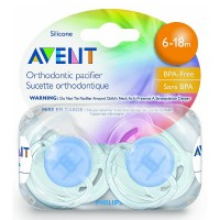 Philips Avent Orthodontic Translucent Silicone Pacifier, 6-18 Months 2 ea [075020006608]