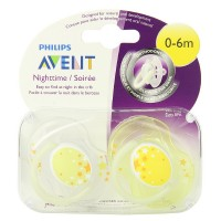 Philips Avent BPA Free Nighttime Infant Pacifier, 0-6 Months 2 ea [075020020239]