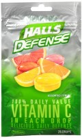 Halls Defense Vitamin C Drops Sugar Free Assorted Citrus 25 Each [312546632615]