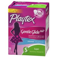 Playtex Gentle Glide 360 Unscented Super Absorbency Tampons 18 ea [078300098386]