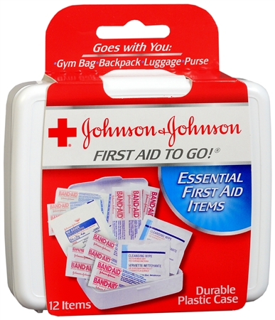 JOHNSON & JOHNSON First Aid To Go Kit 12 Items 1 Each [381370082958]