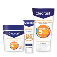 Clearasil Stubborn Acne Control Kit With 5in1 Daily Facial Cleansing Pads 90 ct, Exfoliating Wash 6.78 oz & Spot Treatment Cream 1 oz - 1 ea [191567471348]