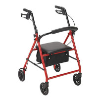 Drive Medical Rollator, Red Adjustable Height Steel - 1 ea [822383524115]