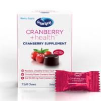Ocean Spray Cranberry + Health™ Soft Chews, 50,000mg, clinically proven cranberry health benefits to help support urinary tract health, Non-GMO, 7 ea [031200020512]