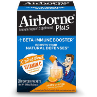 Airborne +Beta-Immune Booster Powder Packets, Vitamin C Immune Support Supplement, Zesty Orange 20 ea [647865988533]