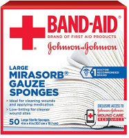 JOHNSON & JOHNSON Red Cross Mirasorb Gauze Sponges 4 Inches X 4 Inches 50 Each [381371161478]