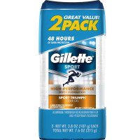 Gillette Sport High Performance Clear Gel Antiperspirant & Deodorant,Twin Pack, Sport Triumph 3.80 oz each, 2 ea [047400510470]