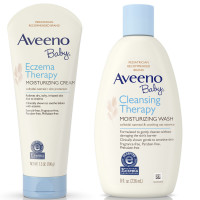 Aveeno Baby Cleansing Therapy Moisturizing Wash For Sensitive Skin 8 oz & Aveeno Baby Eczema Therapy Moisturizing Cream For Dry Skin 7.30 oz 1 ea [191567310852]