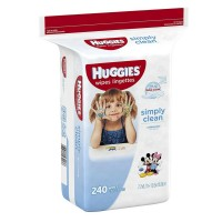 HUGGIES Simply Clean Baby Wipes, Unscented 240 ea [036000432176]
