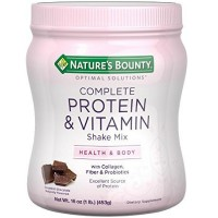 Nature's Bounty Optimal Solutions Complete Protein & Vitamin Shake Mix, Chocolate 16 oz [074312508745]