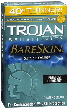 TROJAN Sensitivity BareSkin Lubricated Premium Latex Condoms 10 Each [022600926740]